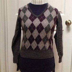 Tweeds argyle sweater (purple, lavender, and gray)